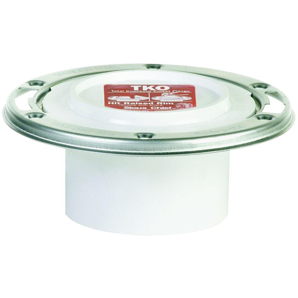 TKO 3 in. x 4 in. PVC DWV Closet Flange with Adjustable Stainless Steel Swivel Ring