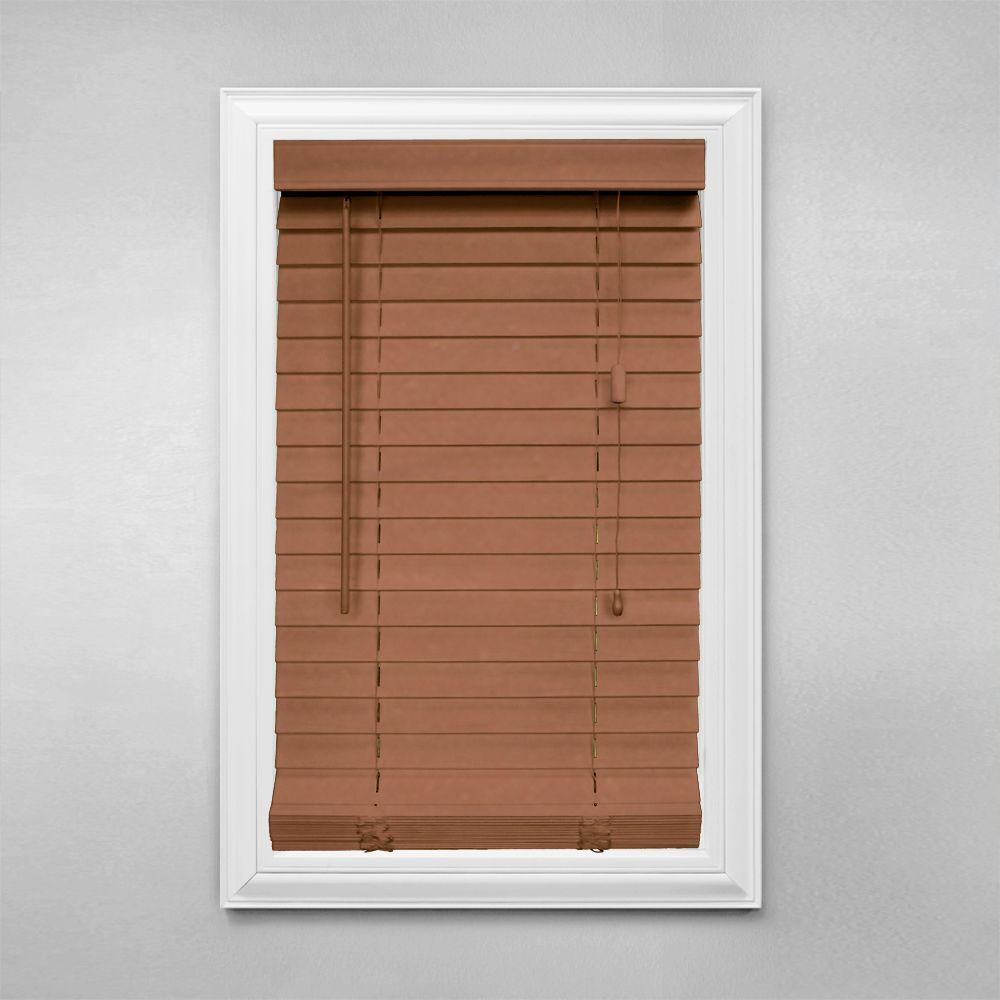Home Decorators Collection Cut-to-Width Golden Oak 2 in. Faux Wood Blind - 20.5 in. W x 48 in. L (Actual Size 20 in. W 48 in. L )