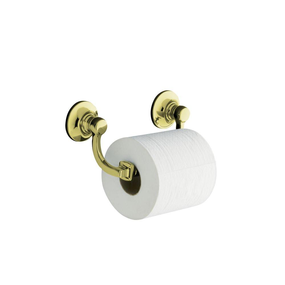 KOHLER Bancroft Wall-Mount Double Post Toilet Paper Holder in Vibrant French Gold