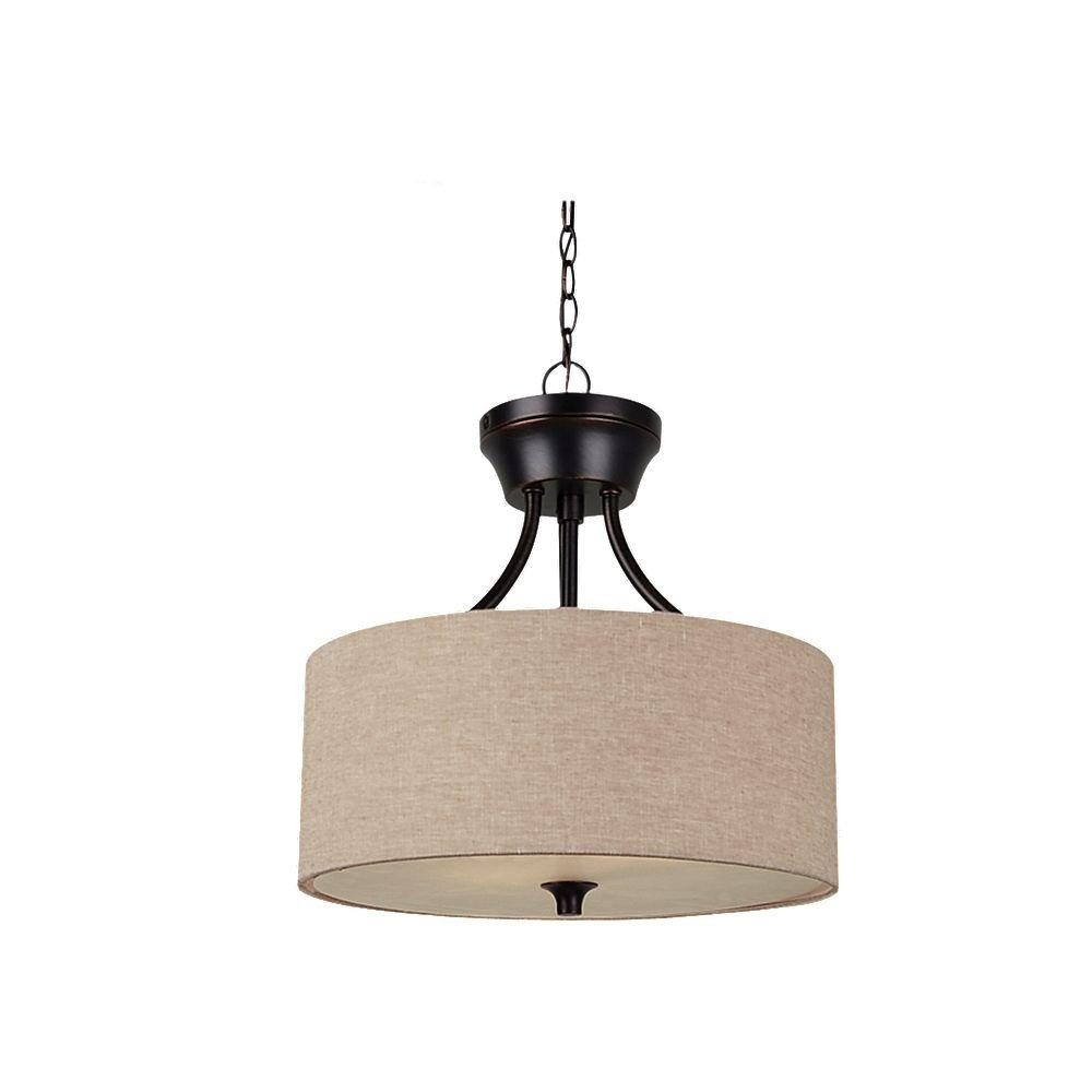 Stirling 2-Light Indoor Convertible Burnt Sienna Semi Flush Mount
