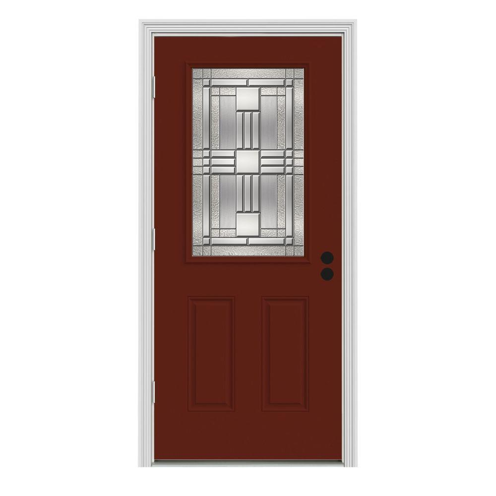 32 in. x 80 in. Cordova 1/2 Lite Mesa Red Painted