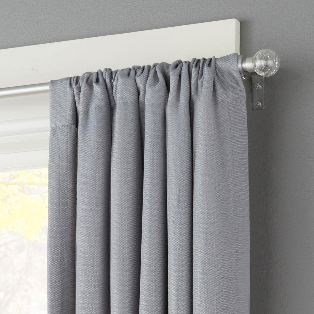 Kenney 28 in. - 48 in. Telescoping 1/2 in. Curtain Rod Kit in Pewter with Crackled Glass Ball Finial