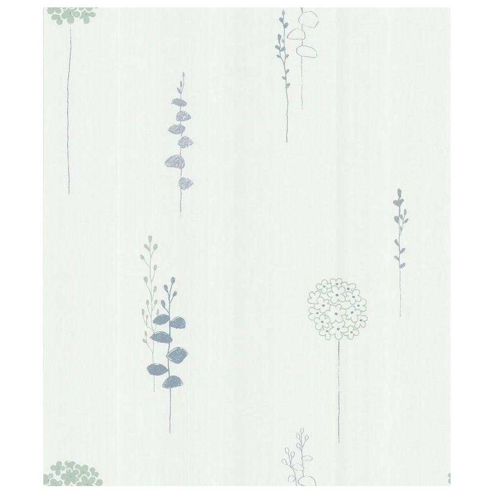 8 in. W x 10 in. H Lily Of The Nile Wallpaper Sample, White