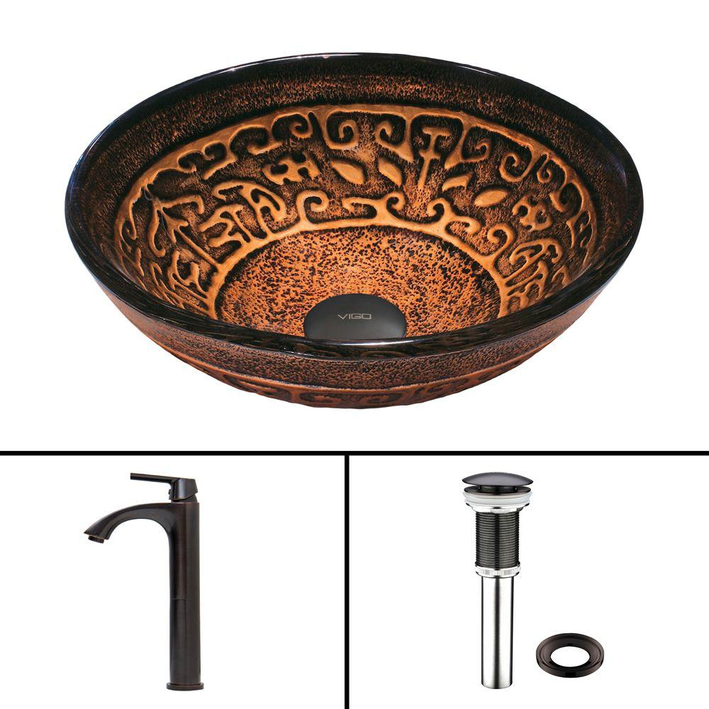 Glass Vessel Sink in Golden Greek and Linus Faucet Set in