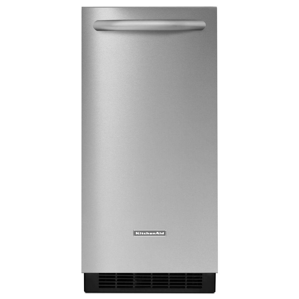 KitchenAid Architect Series II 15 in. 50 lb. Freestanding or Built-In Icemaker with Drain Pump in Stainless Steel