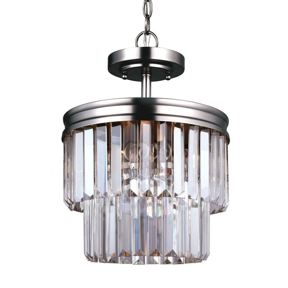 Carondelet 2-Light Antique Brushed Nickel Semi Flush Mount