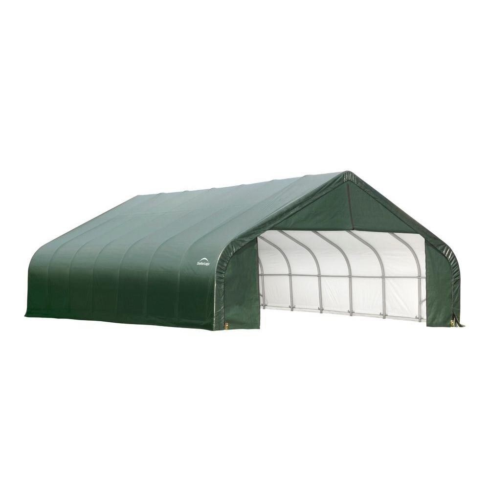 ShelterLogic 30 ft. x 36 ft. x 16 ft. Green Cover Peak Style Shelter - DISCONTINUED