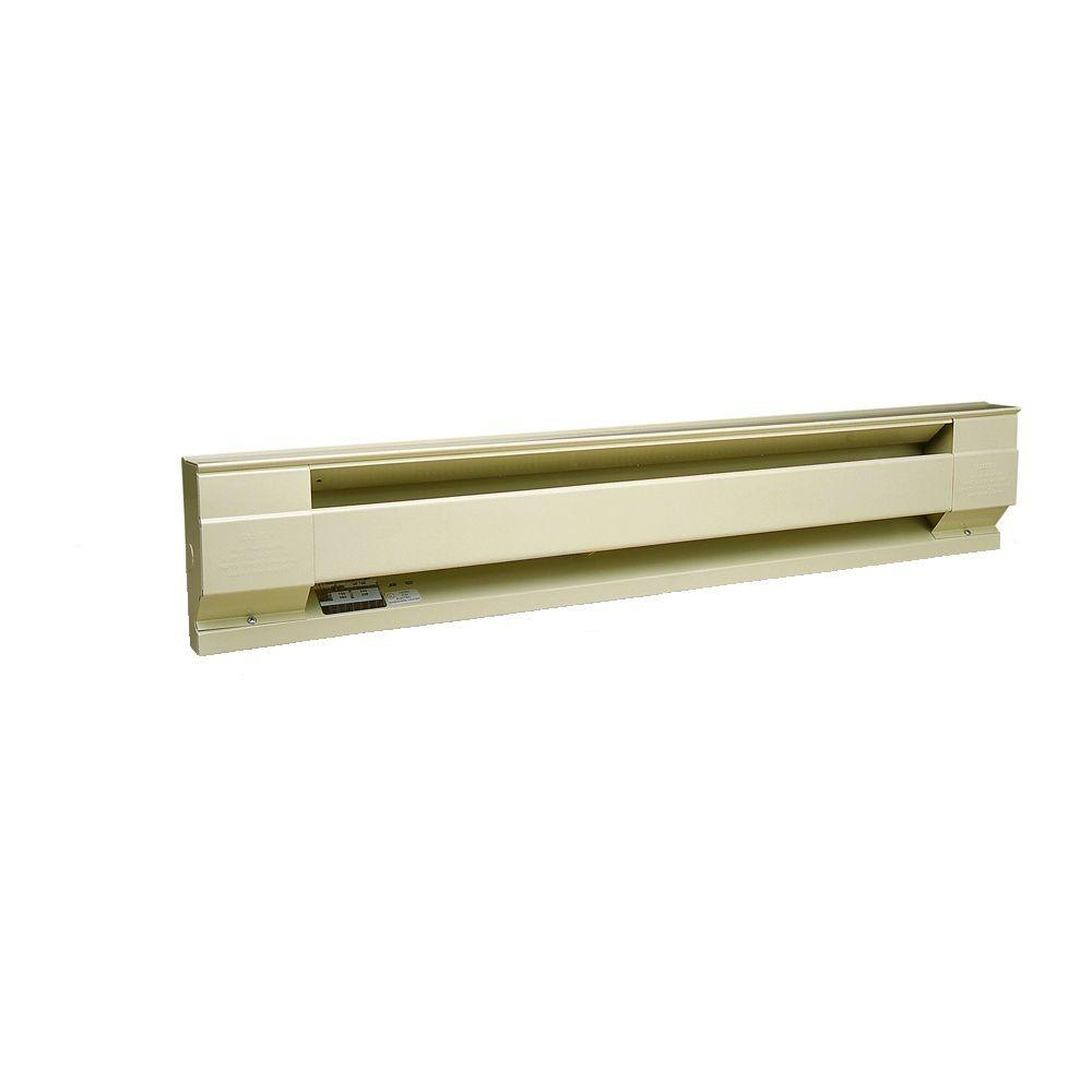 96 in. 2,500-Watt 240/208-Volt Electric Baseboard Heater in Almond