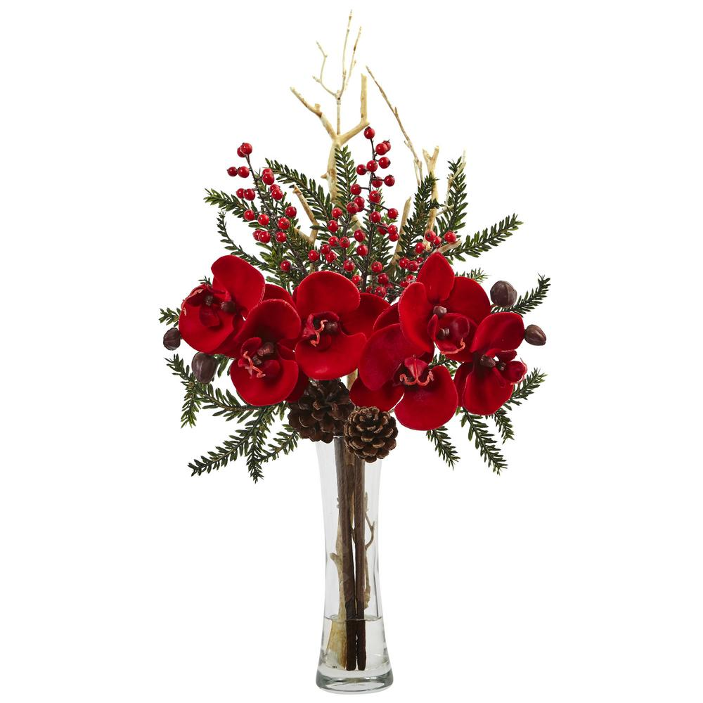 Mixed Orchid Holiday Arrangement with Vase