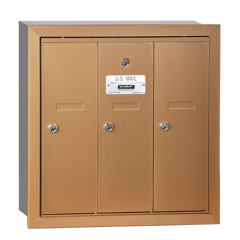 Brass Recessed-Mounted USPS Access Vertical Mailbox with 3 Door