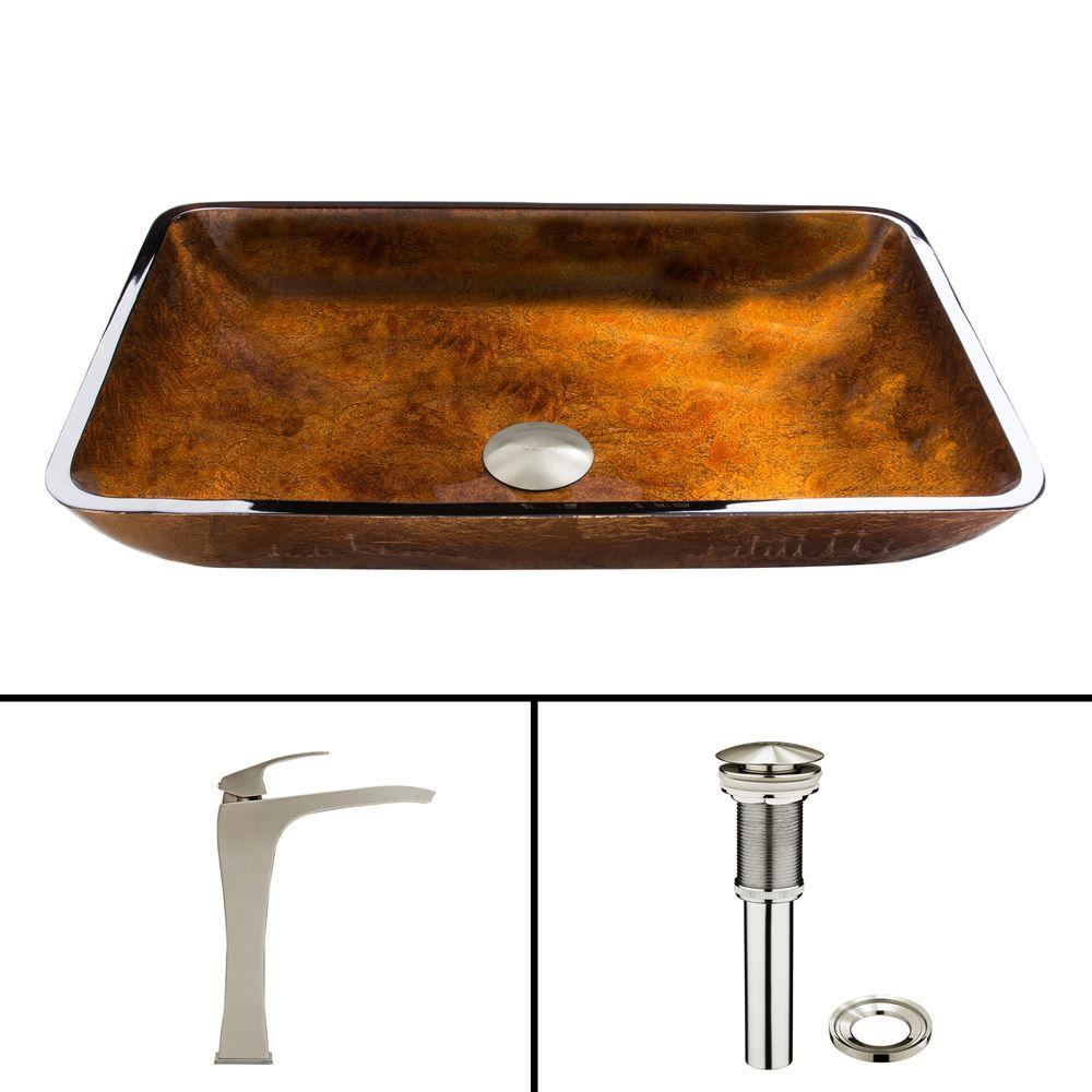 Glass Vessel Sink in Russet and Blackstonian Faucet Set in Brushed