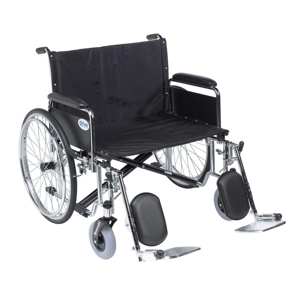 Sentra EC Heavy Duty Extra Wide Wheelchair, Detachable Full Arms, Elevating