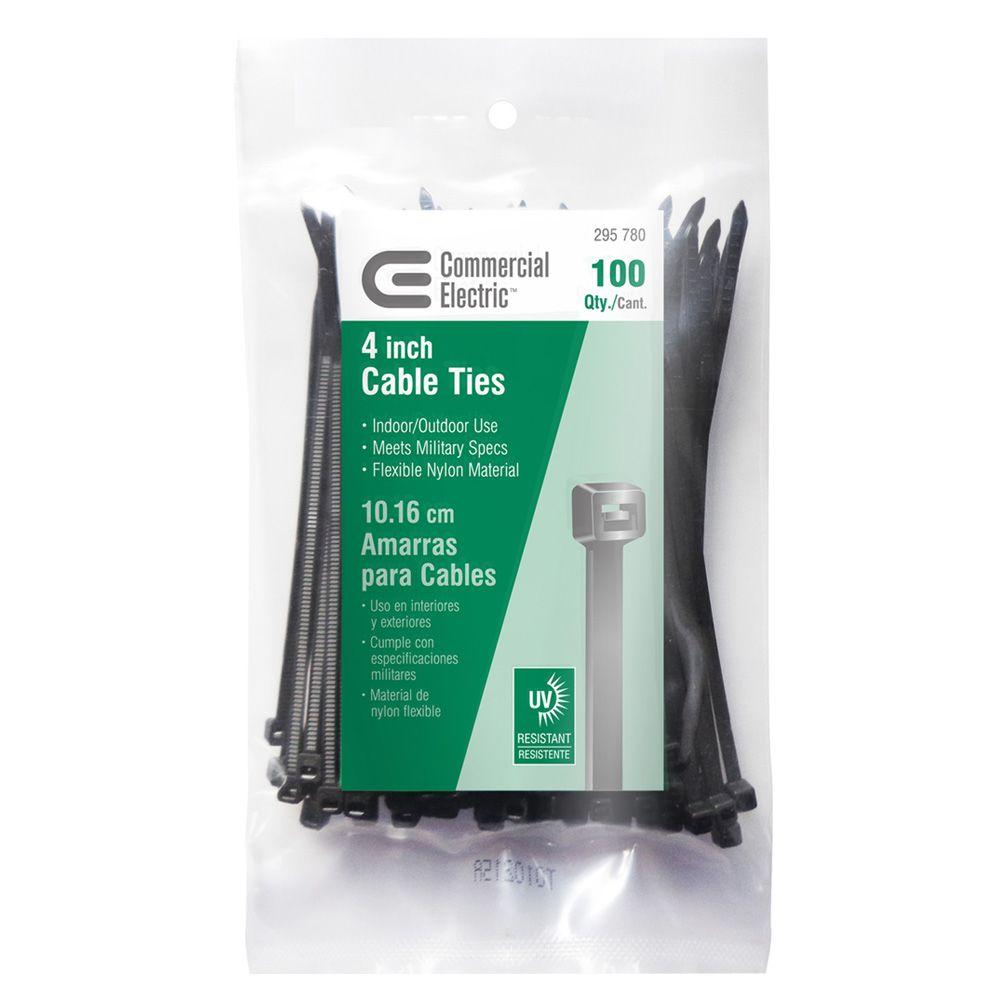 Commercial Electric 4 in. UV Cable Tie - Black (100-Pack)-GT-100MCB -