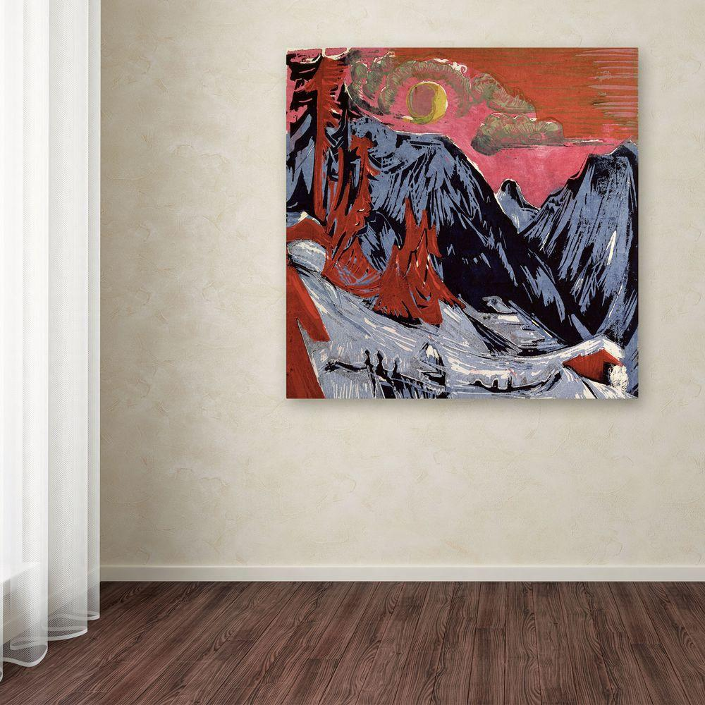 14 in. x 14 in. Mountains in Winter Canvas Art