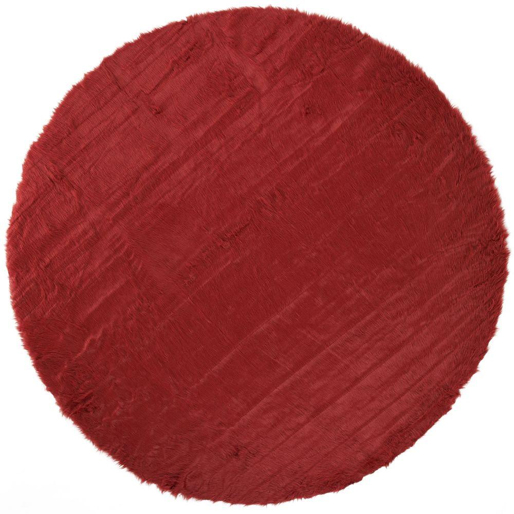 Faux Sheepskin Red 8 ft. Round Area Rug
