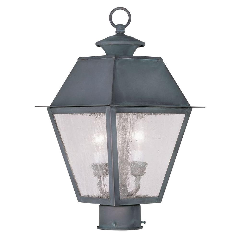 Livex Lighting Providence 2-Light 13 in. Outdoor Charcoal Post Head Lantern