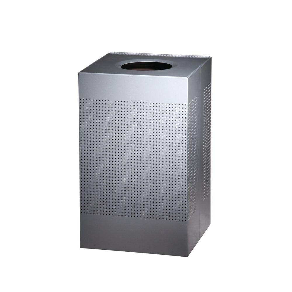 Rubbermaid Commercial Products Silhouette 29 Gal. Silver Square Open Top Trash Can