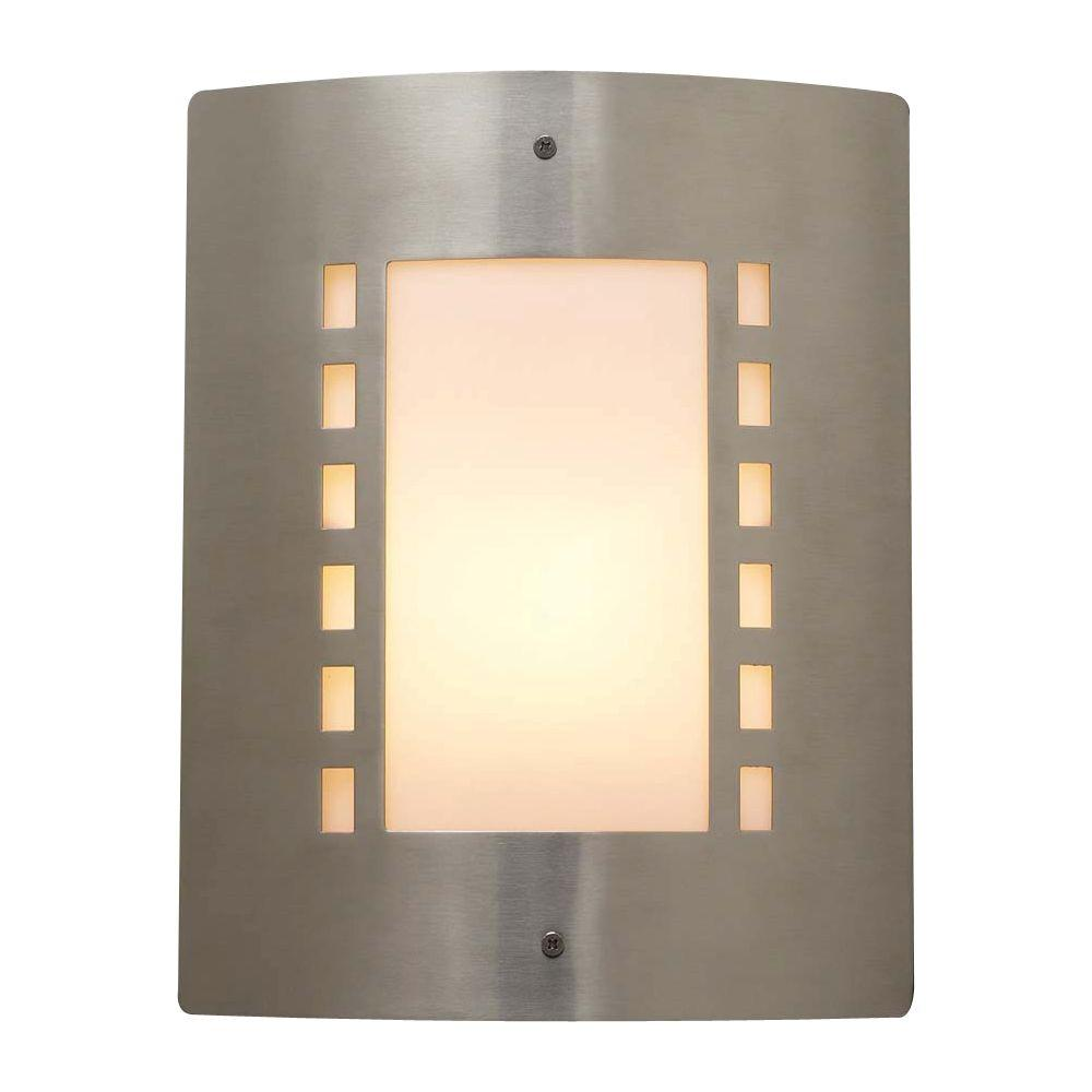 PLC Lighting 1-Light Outdoor Satin Nickel Wall Sconce with Matte Opal