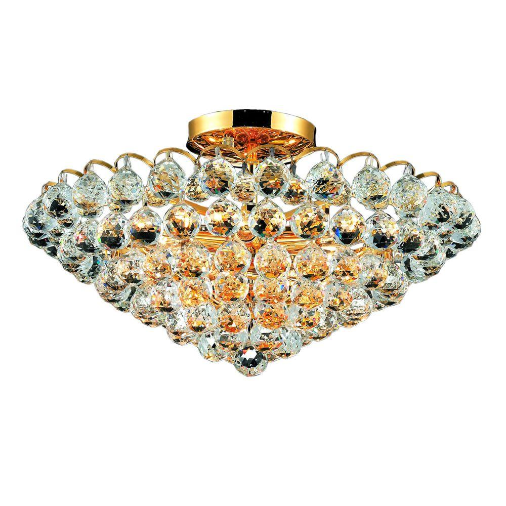 Elegant Lighting 9-Light Gold Flushmount with Clear Crystal