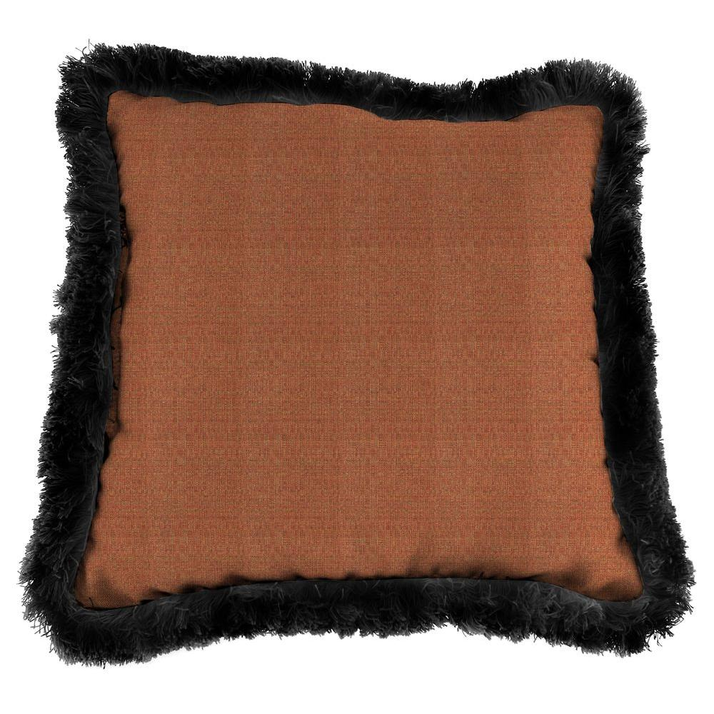 Sunbrella Linen Chili Square Outdoor Throw Pillow with Black Fringe
