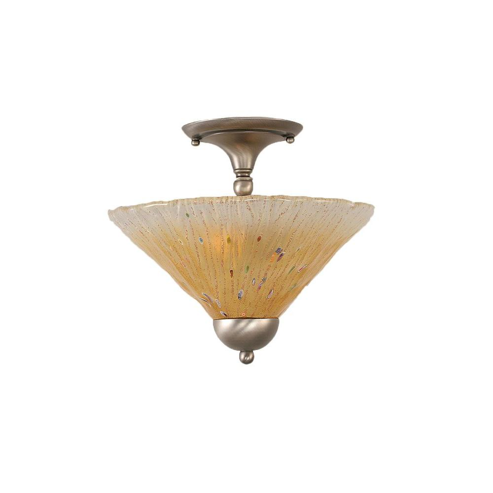 Almeida 2-Light Brushed Nickel Semi-Flush Mount Light with Amber Crystal Glass