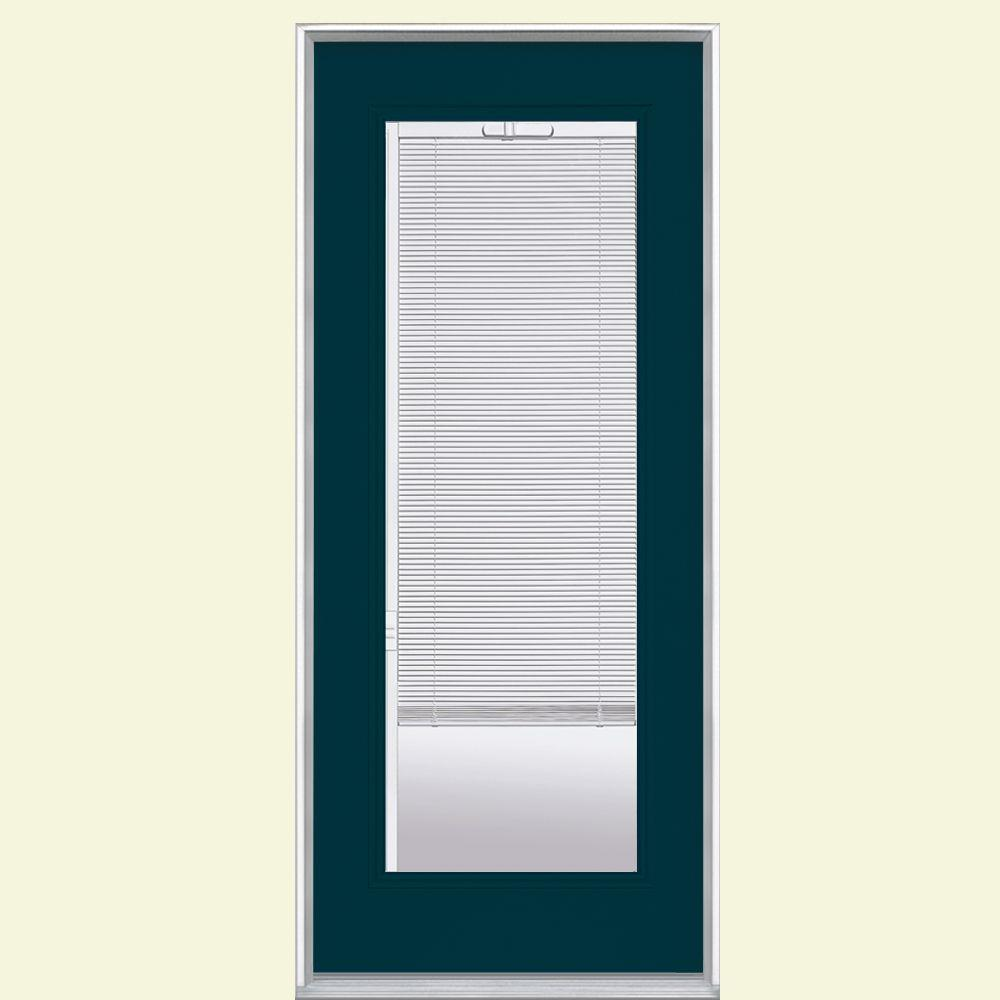 Masonite 32 in x 80 in mini blind painted steel prehung - Exterior door with blinds in glass ...
