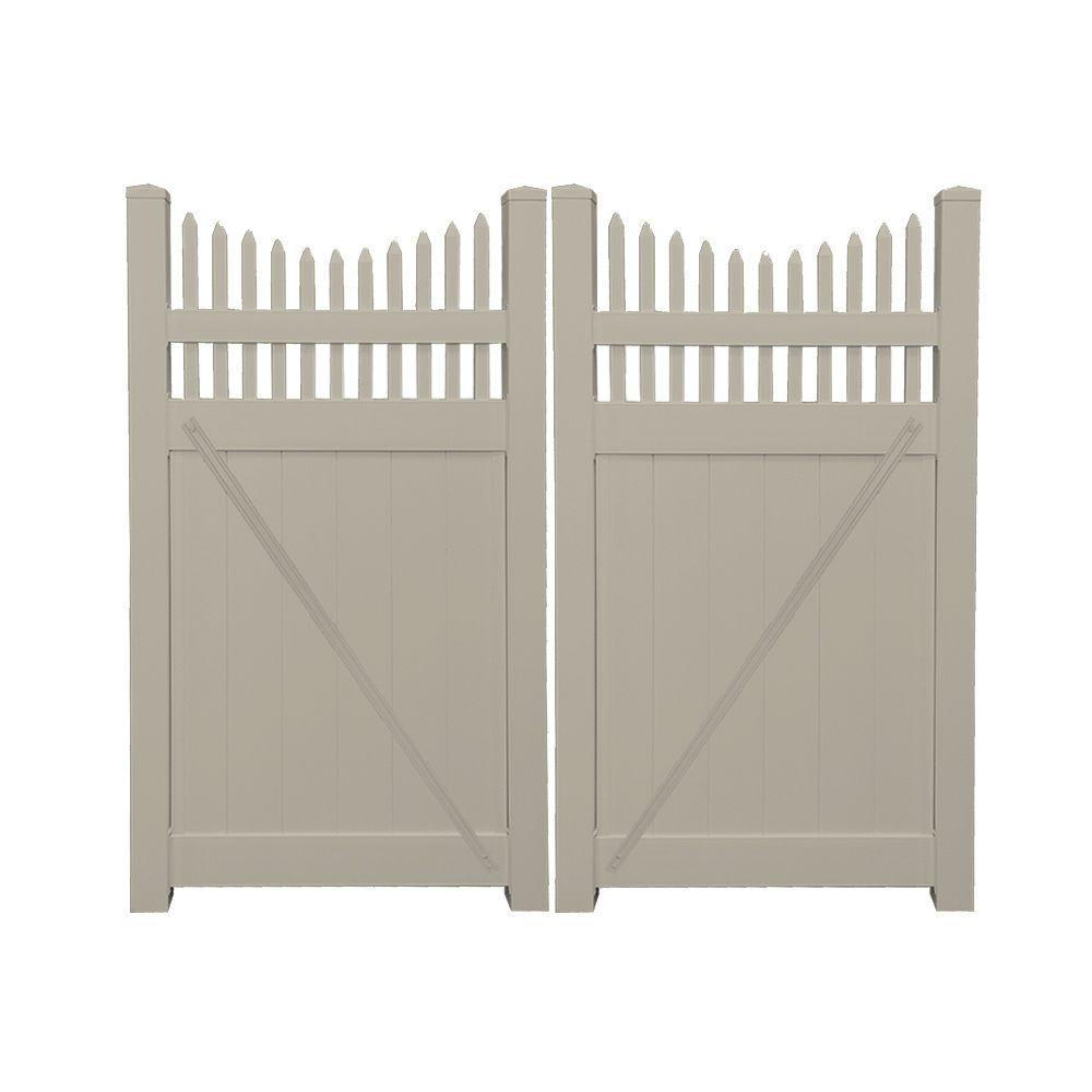 Halifax 7.4 ft. W x 6 ft. H Khaki (Green) Vinyl Privacy Double Fence Gate