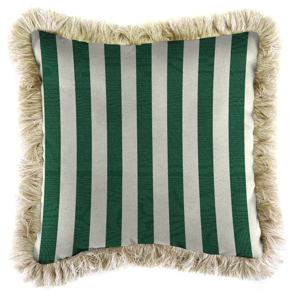 Sunbrella Mason Forest Green Square Outdoor Throw Pillow with Canvas Fringe