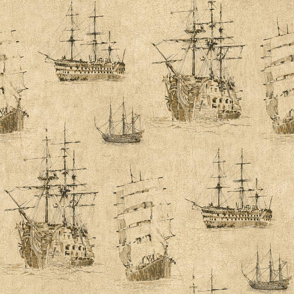 The Wallpaper Company 8 in. x 10 in. Beige Nautical Ships Wallpaper Sample-DISCONTINUED
