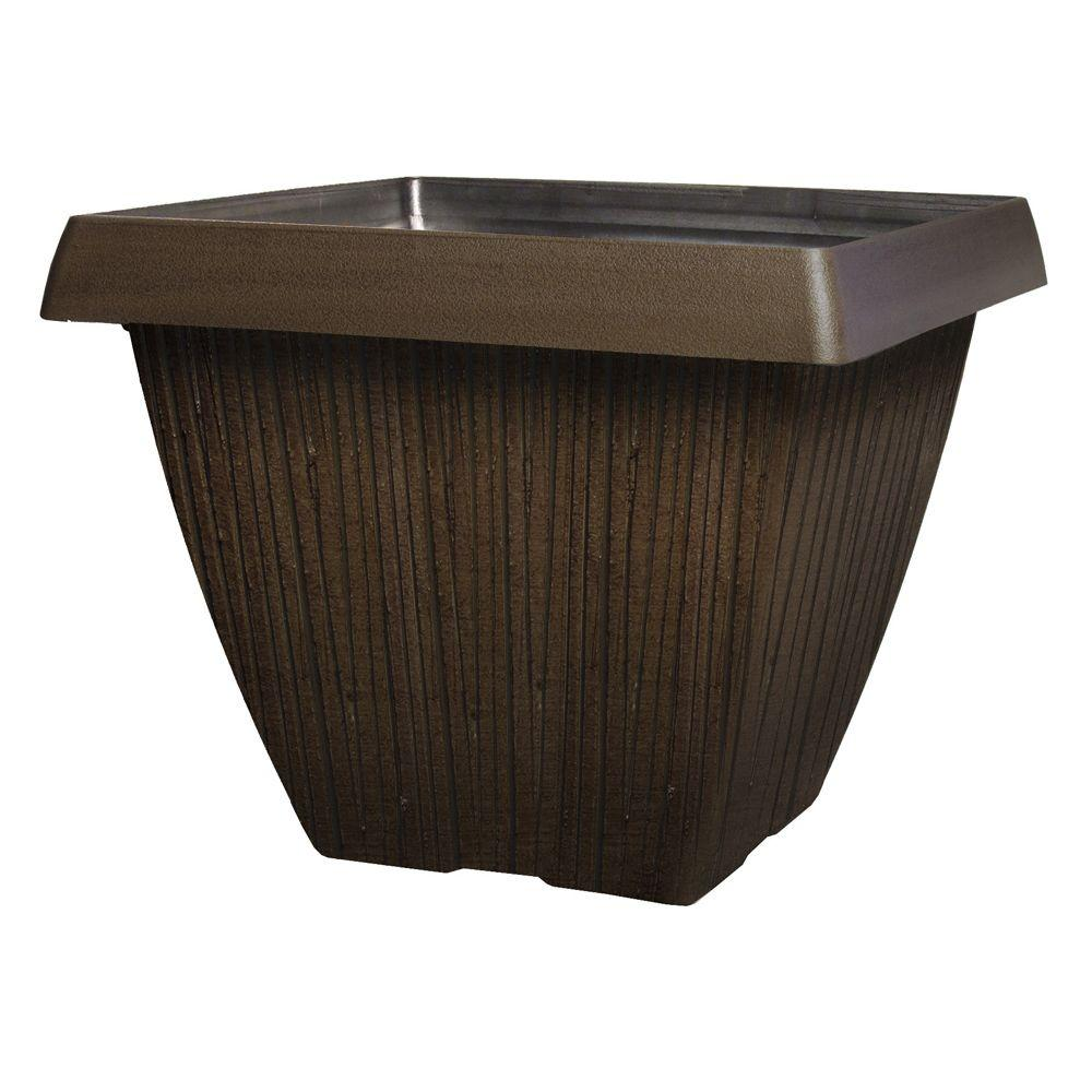 null 16 in. Wood Grain Plastic Square Mahogany Planter-DISCONTINUED