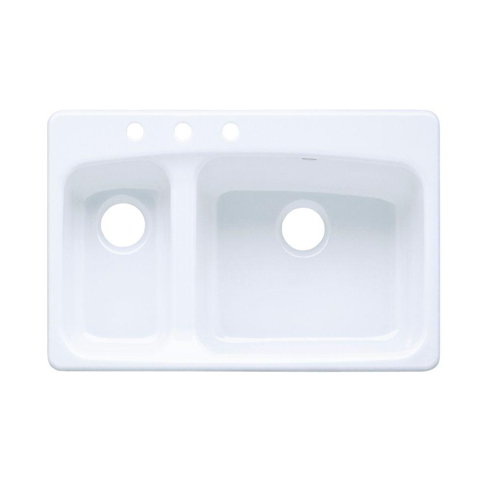 KOHLER Lakefield Self-Rimming Cast Iron 33x22x10.25 3-Hole Kitchen Sink in White-DISCONTINUED