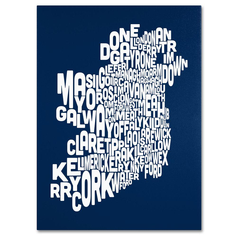 14 in. x 19 in. Ireland Text Map - Navy Canvas