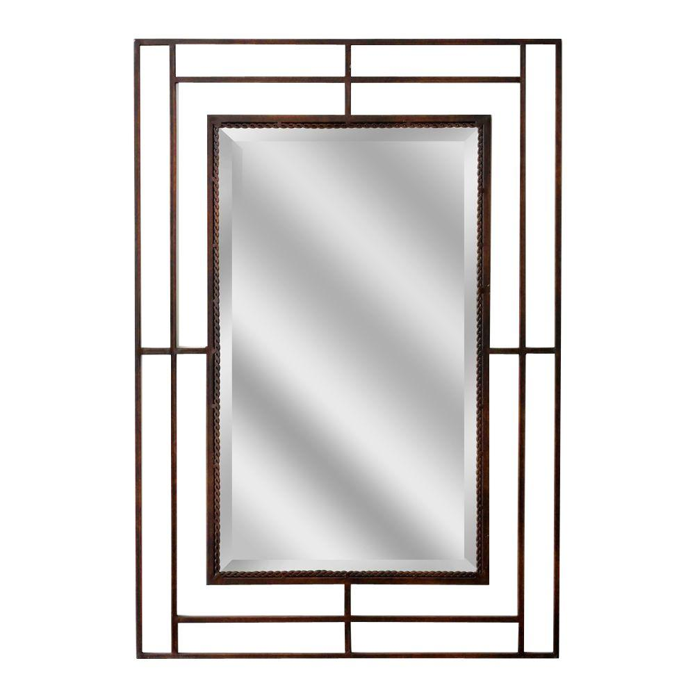 Deco Mirror 38 in. x 26 in. Modern Classic Rectangle Mirror in Bronze
