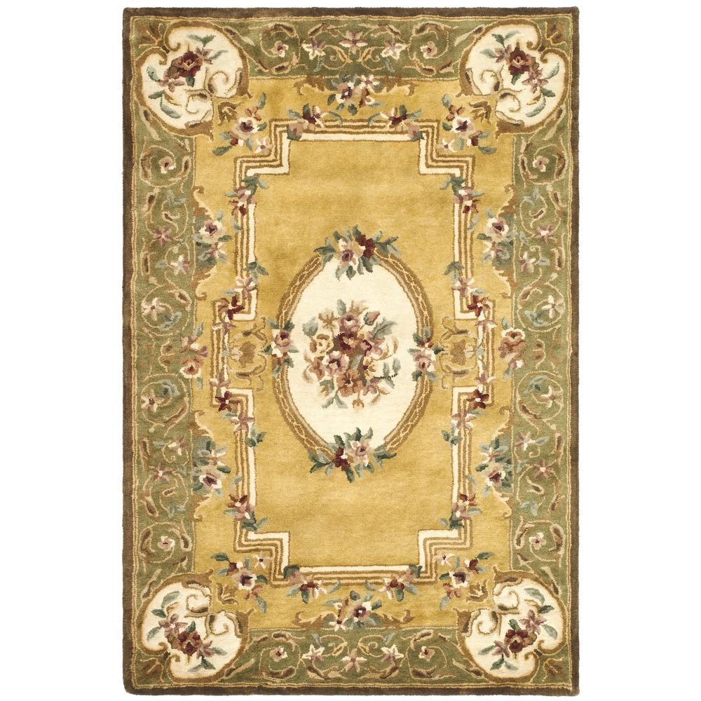 Classic Light Gold/Green 5 ft. x 8 ft. Area Rug