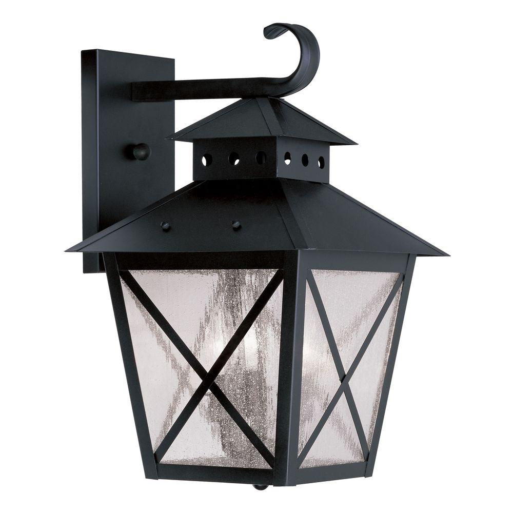 Livex Lighting Providence Wall-Mount 3-Light Outdoor Black Incandescent Lantern