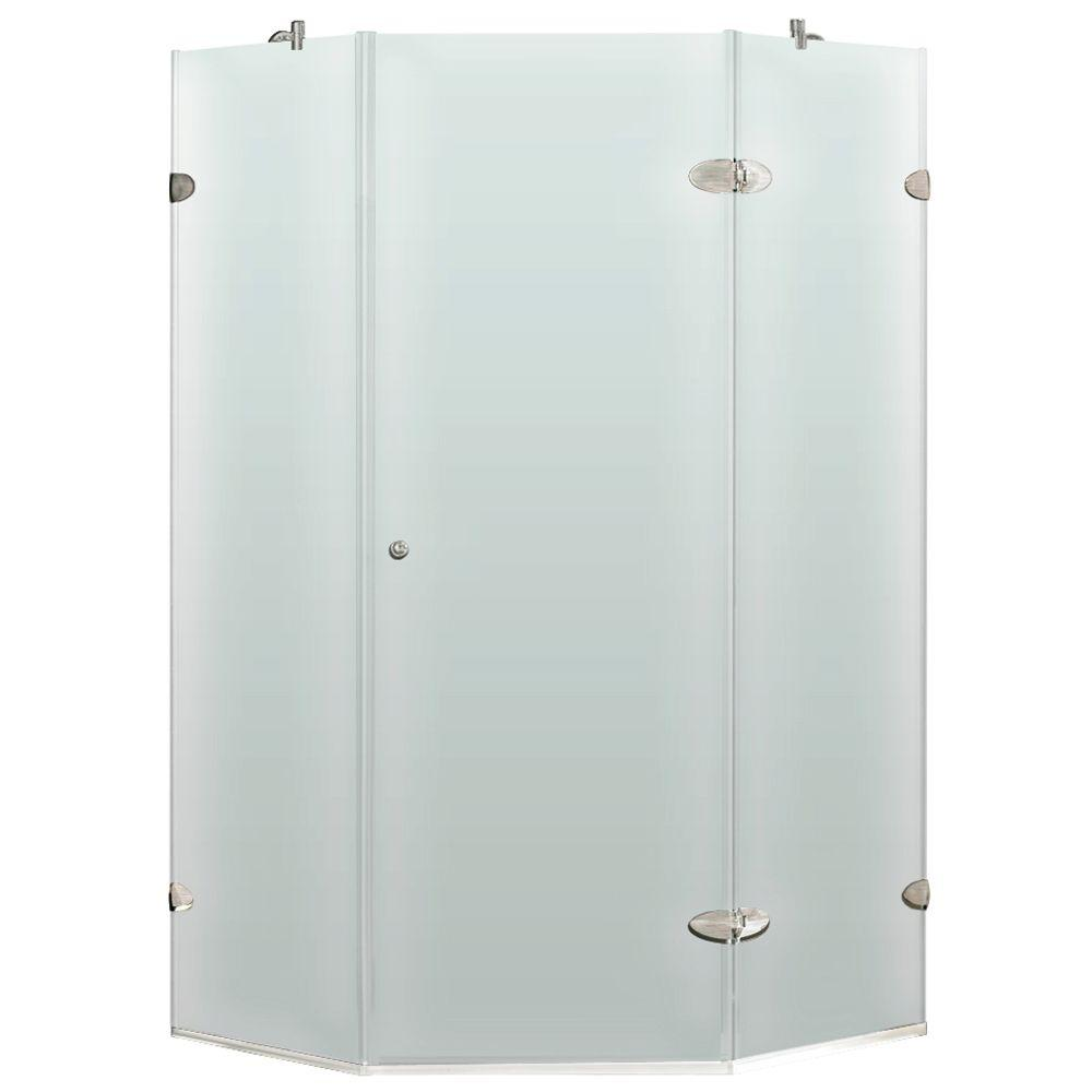 Vigo 38 in. x 73 in. Frameless Neo-Angle Shower Enclosure in Brushed Nickel and Frosted Glass