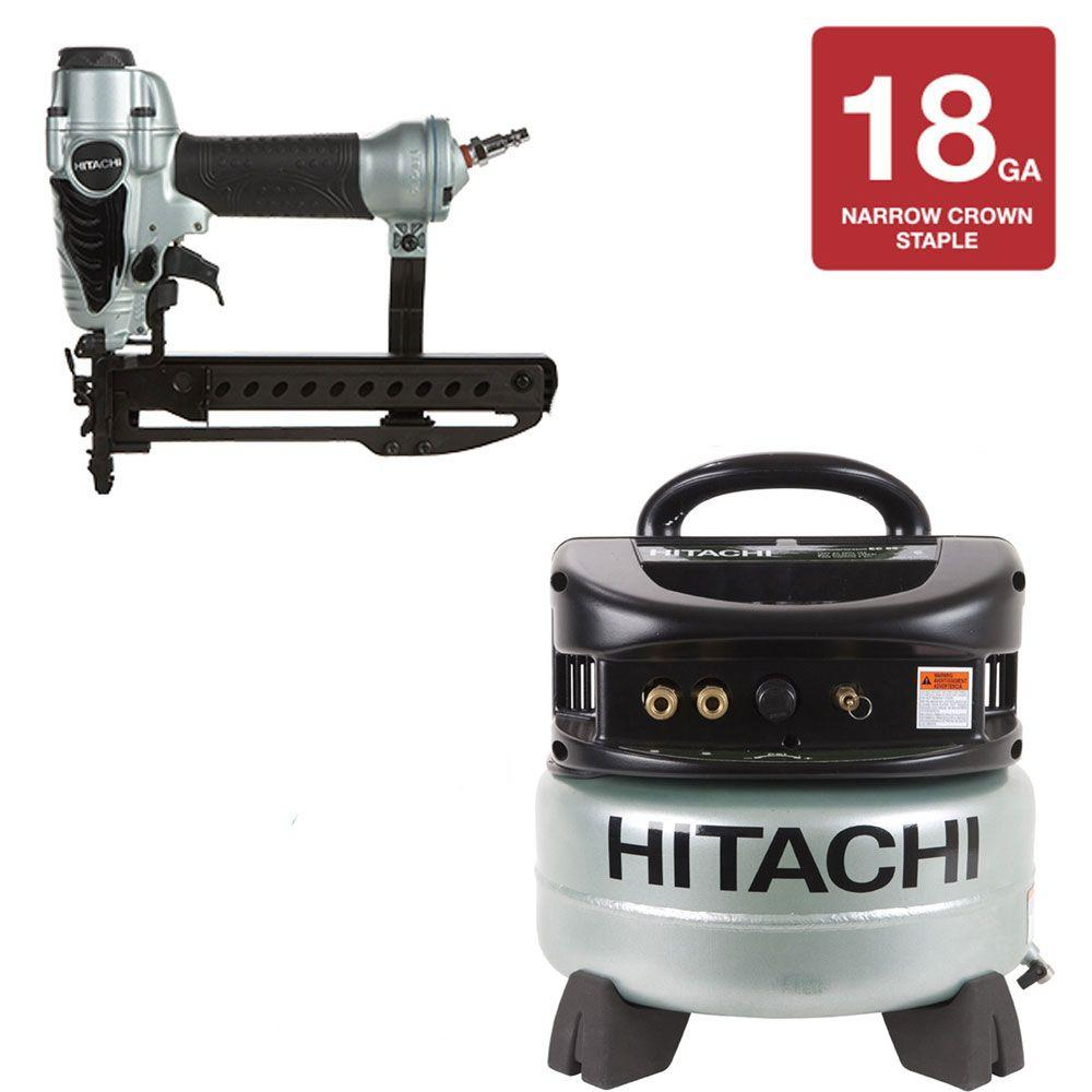 Hitachi 1/4 in. Crown Stapler and 6 gal. Compressor Kit (2- Piece)