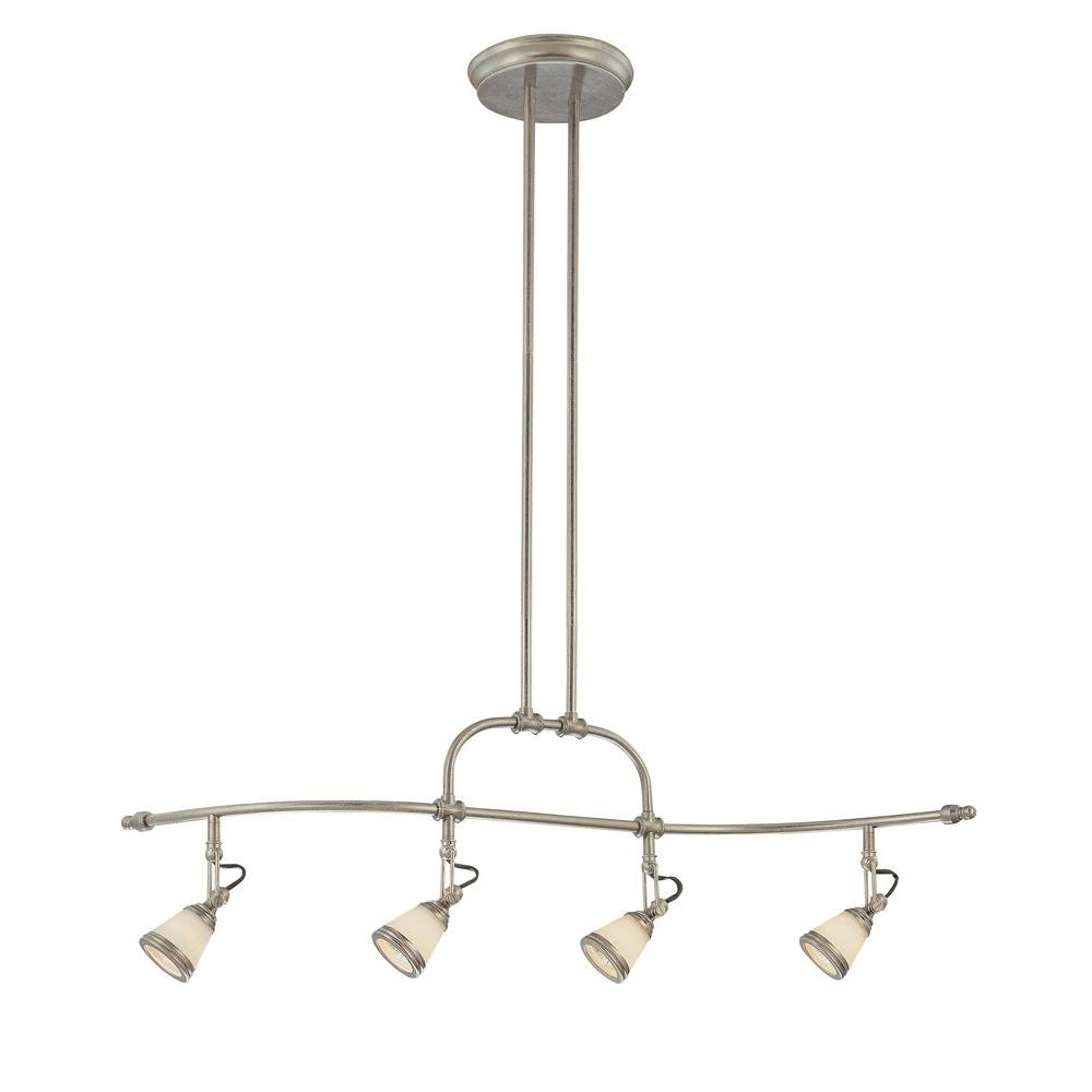 Hampton Bay 4-Light Adjustable Antique Pewter Ceiling Wave Bar with White Opal Glass Shades