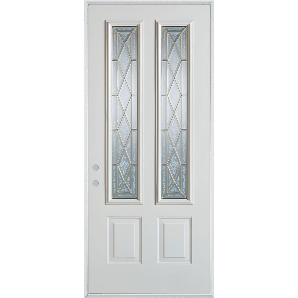 37.375 in. x 82.375 in. Art Deco 2 Lite 2-Panel Painted