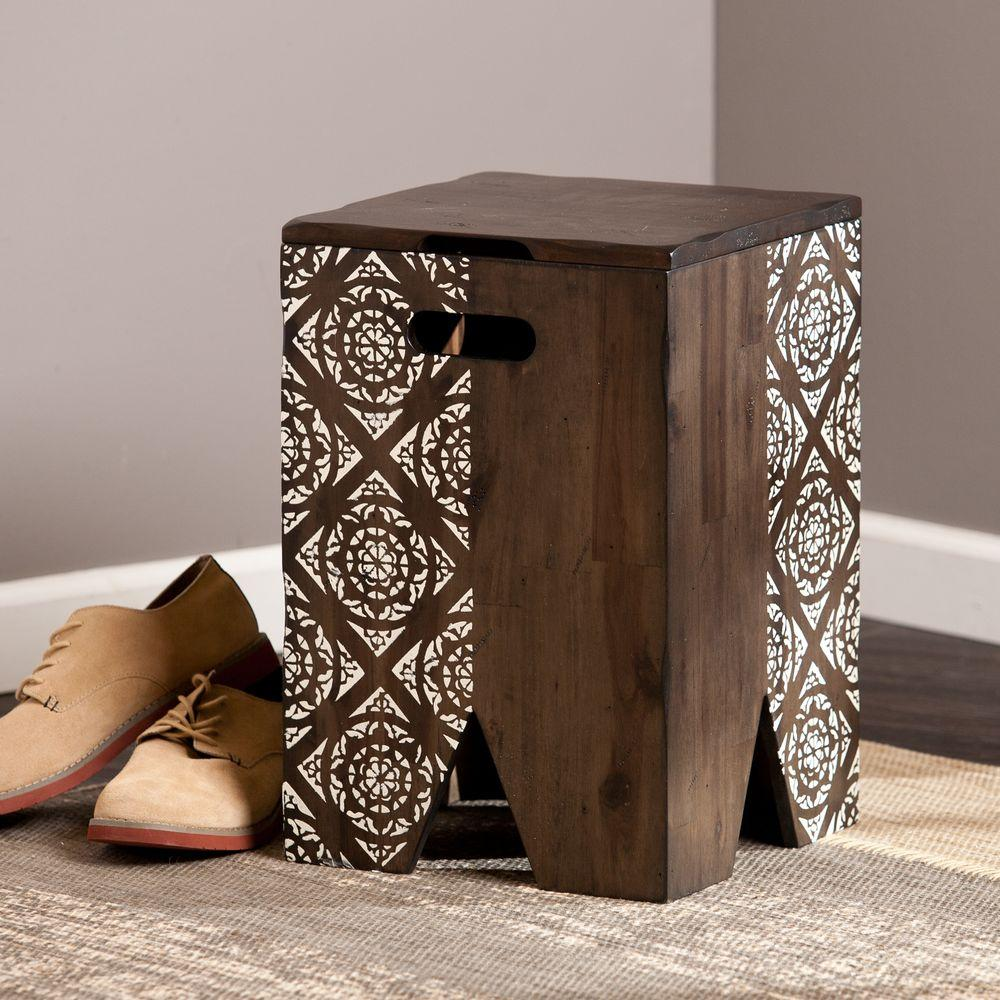 Southern Enterprises Luke Storage Stool in Antique Brown-HD864457 - The Home