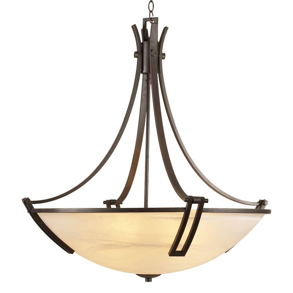 PLC Lighting 5-Light Oil-Rubbed Bronze Chandelier with Marbleized Glass Shade