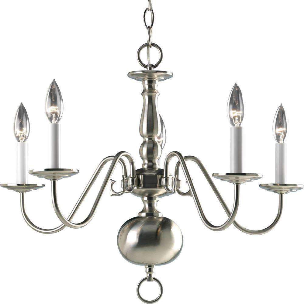 Americana Collection 5-Light Brushed Nickel Chandelier