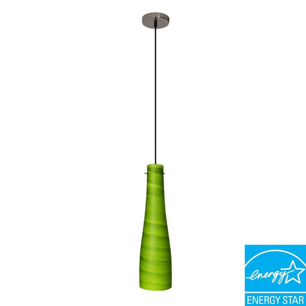 Efficient Lighting Contemporary Series 1-Light Ceiling Mount Pendant Fixture with Green Glass Shade GU24 Energy Star Qualified-DISCONTINUED