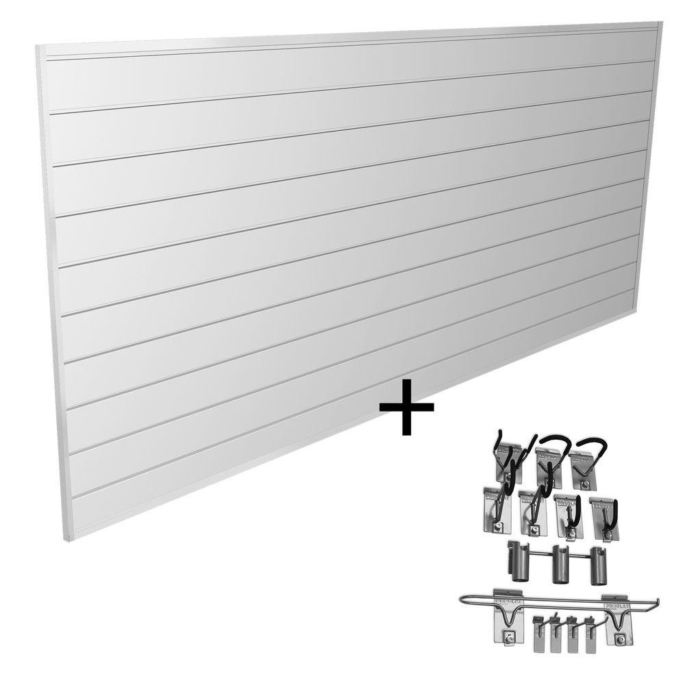 Proslat Hook and Rack Sports Combo Kit with Panels in White (22-Piece)