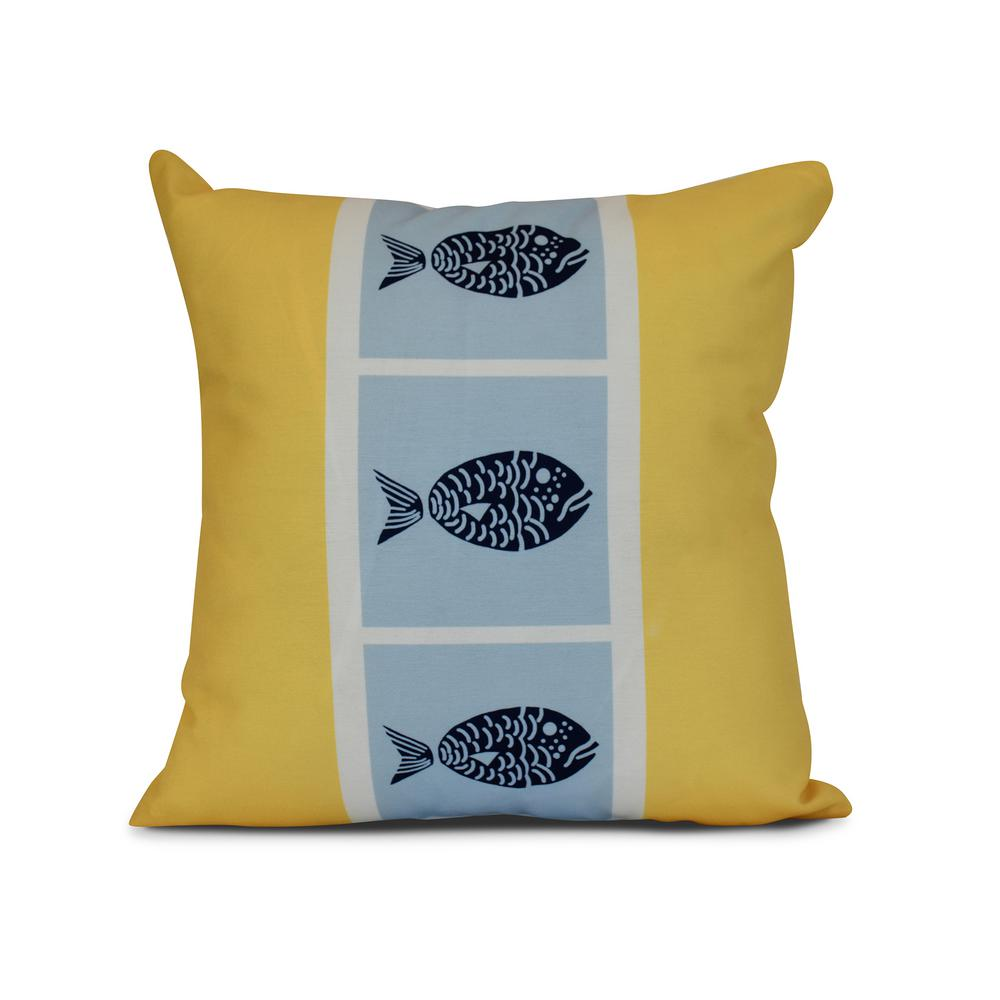16 in. Fish Chips Animal Print Pillow in Yellow