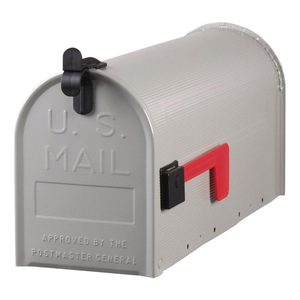 Gibraltar Mailboxes Standard Steel Ribbed Post-Mount Mailbox in Grey-ST100000 -