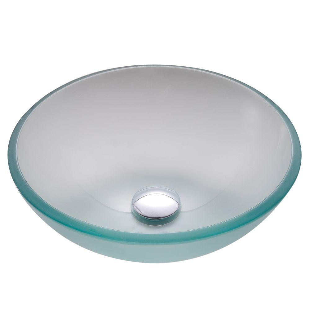 KRAUS 14 in. Glass Vessel Sink in Frosted with Pop-Up Drain