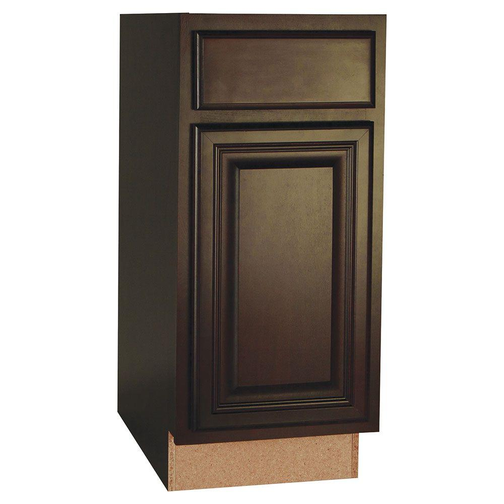 Hampton Bay Assembled 15x34.5x24 in. Cambria Base Cabinet with Ball-Bearing