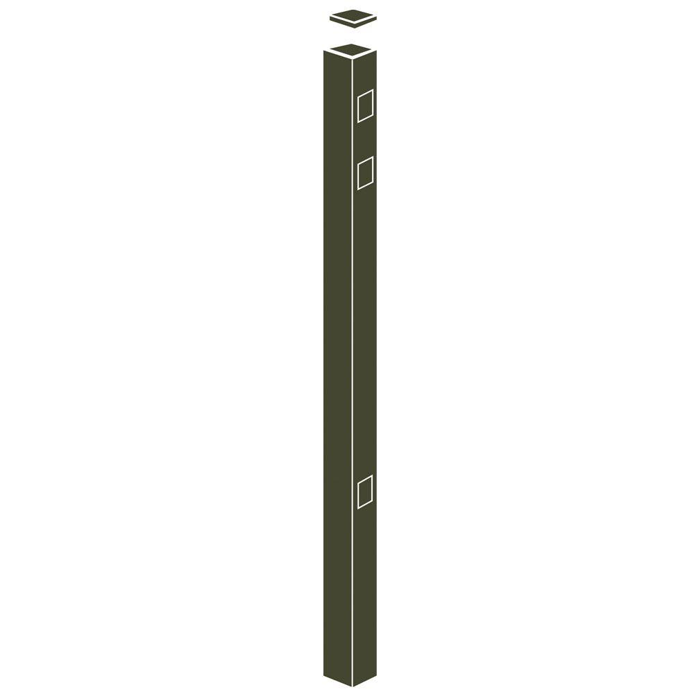 Allure Aluminum 82 in. Aluminum Bronze Fence End/Gate Post Heavy Duty Use with 54 in. Fence