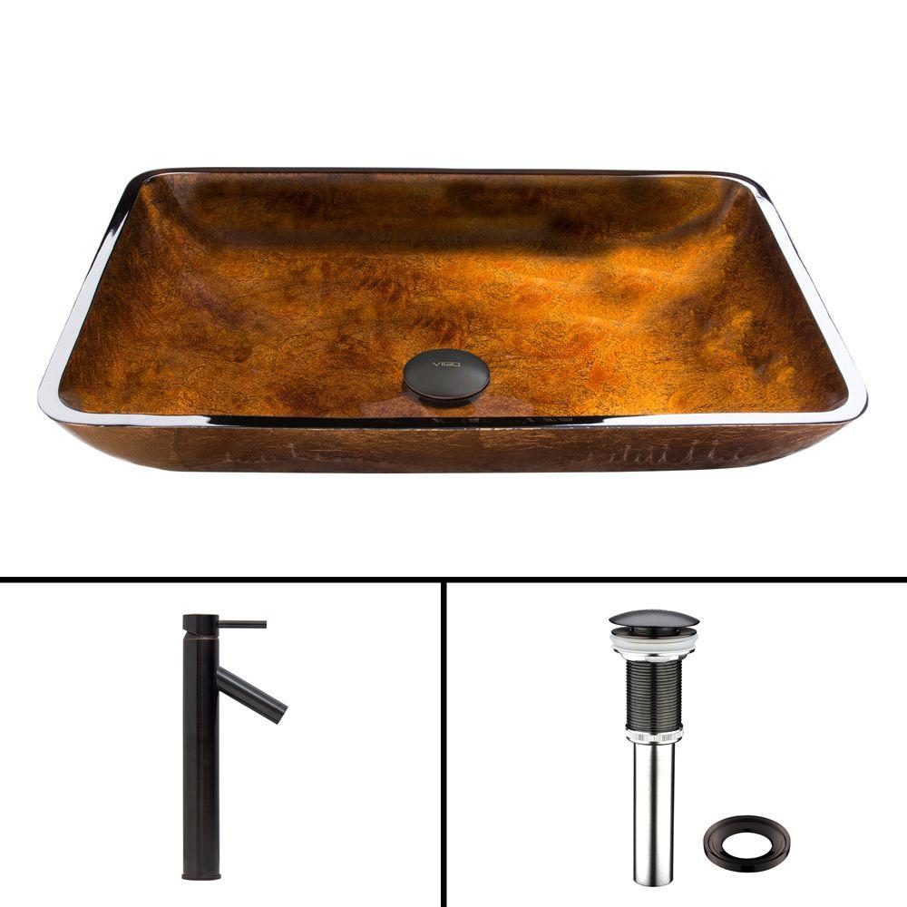Glass Vessel Sink in Russet and Dior Faucet Set in Antique